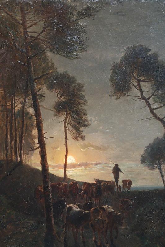 """Amédée Baudit (1827 Genève-1890 Bordeaux) """"Retour du berger au clair de lune"""" (1872)"""