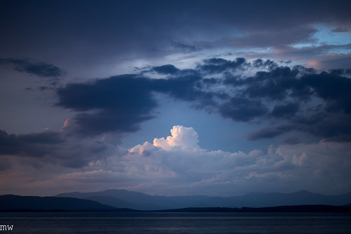 clouds mountains dusk lake winnipesaukee