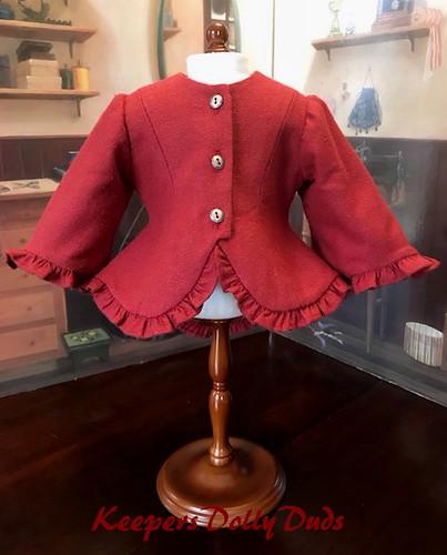 1850s Ruffled Silk Noil Jacket