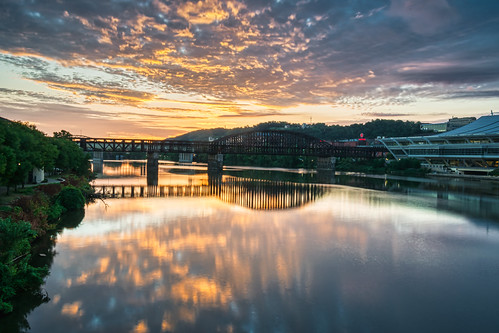 alleghenyriver fortwaynecoveredbridge hdr nikon nikond5300 outdoor pennsylvania pittsburgh bridge city clouds downtown geotagged morning reflection reflections river sky tree trees water unitedstates