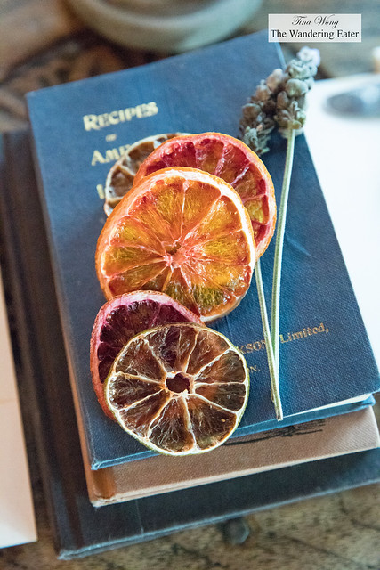 Vintage cocktail books and dried citrus slices