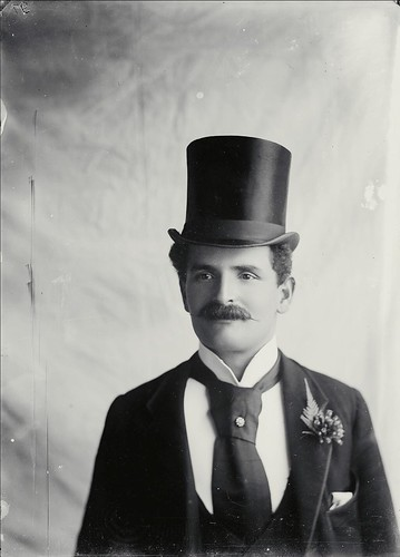 [Portrait of unidentified young man with moustache wearing top hat, dark suit, pinned cravat and a flower and fernleaf in his button hole, New South Wales, ca. 1890s] Robert Morse Withycombe | by National Library of Australia Commons