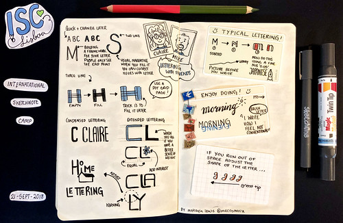 Sketchnotes from International Sketchnote Camp 2018 'Lettering with friends with Claire and Mike' (Drawn by Dr Makayla Lewis) | by maccymacx