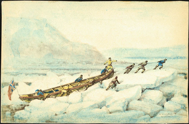 Pulling a boat over the ice, Quebec / Hommes hissant une embarcation sur la glace (Québec)
