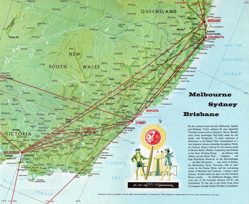 Brisbane Map Australia.Taa Melbourne Sydney Brisbane Map 1968 Trans Australia Ai Flickr