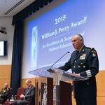 Ju, 09/20/2018 - 14:20 - On Thursday, September 20, 2018, the William J. Perry Center for Hemispheric Defense Studies honored General Salvador Cienfuegos Zepeda, Secretary of National Defense of Mexico, and Escola Superior de Guerra (ESG), National War College of Brazil, with the 2018 William J. Perry Award for Excellence in Security and Defense Education. Named after the Center's founder, former U.S. Secretary of Defense Dr. William J. Perry, the Perry Award is presented annually to individuals who and institutions that have made significant contributions in the fields of security and defense education. From the many nominations received, awardees are selected for achievements in promoting education, research, and knowledge-sharing in defense and security issues in the Western Hemisphere. Awardees' contributions to their respective fields further democratic security and defense in the Americas and, in so doing, embody the highest ideals of the Center and the values embodied by the Perry Award.