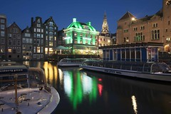 The Damrak in Amsterdam at dusk