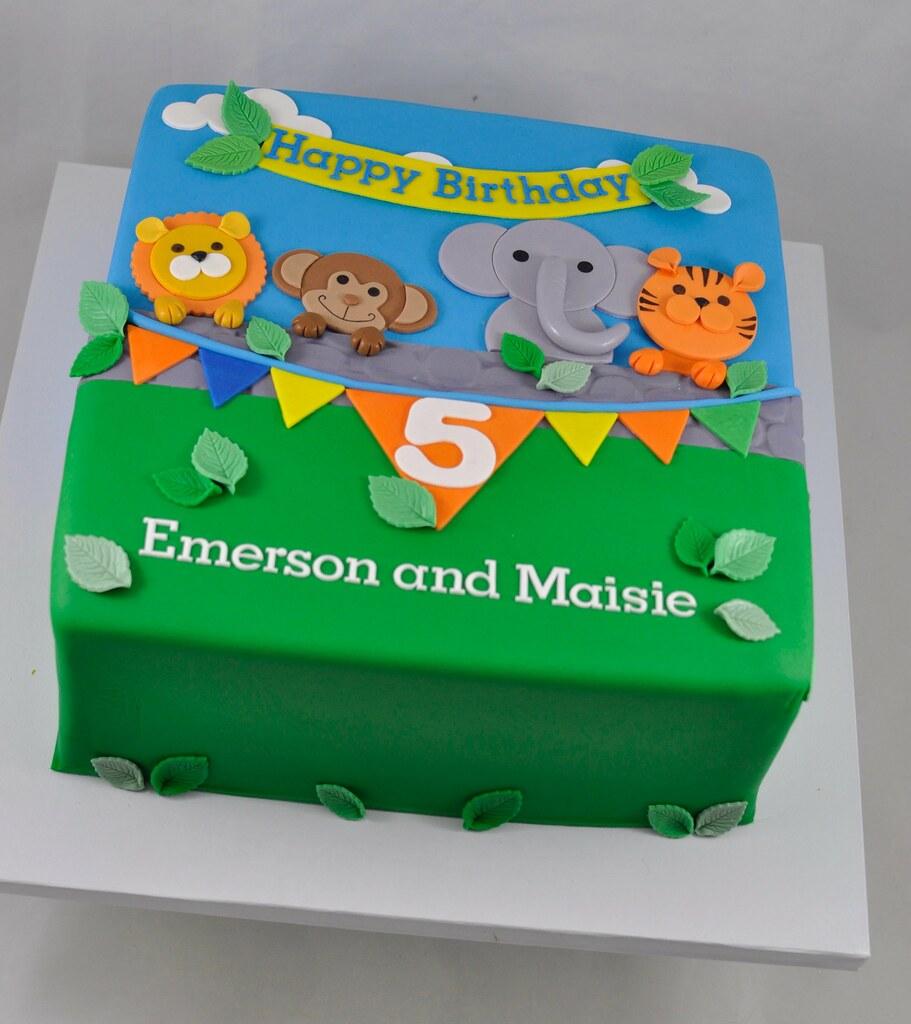 Incredible Jungle Themed Birthday Cake Jenny Wenny Flickr Funny Birthday Cards Online Elaedamsfinfo