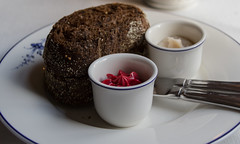 Bread with Beet Butter and Pork Belly Fat