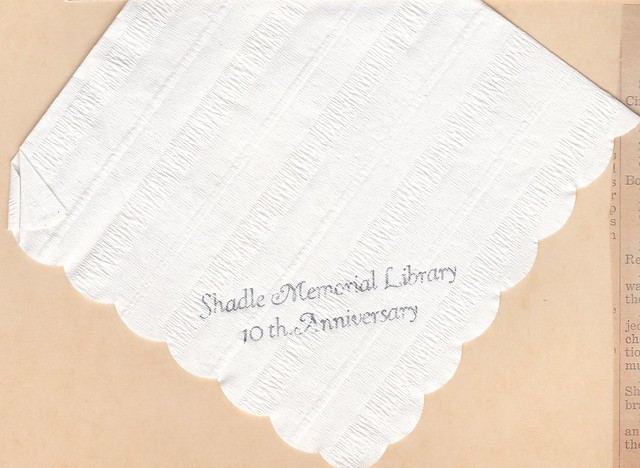 SCN_0018 Shadle Memorial Library 10th Anniversary napkin from open house