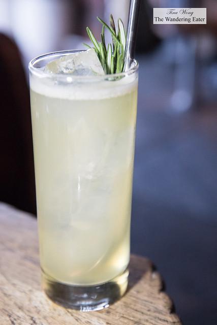 Collins (grey goose, pear, rosemary honey, douglas fir liqueur, lemon, and fresh soda)