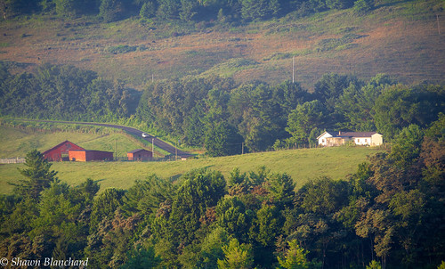 farm green trees mountains mountain appalachian ashe county north carolina nc agriculture farming barn red house grass livestock fields
