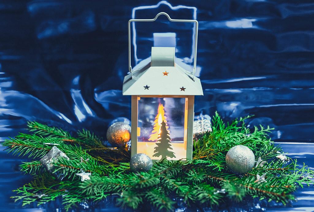 Beautiful Christmas Background.Beautiful Christmas Background With A Luminous Lantern And