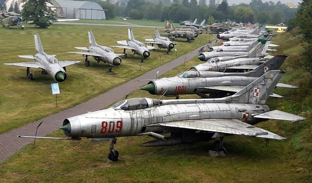 MiG's and Sukhoi's. Overview of a part of the Polish Aviation Museum in Krakow. 25 August 2018.