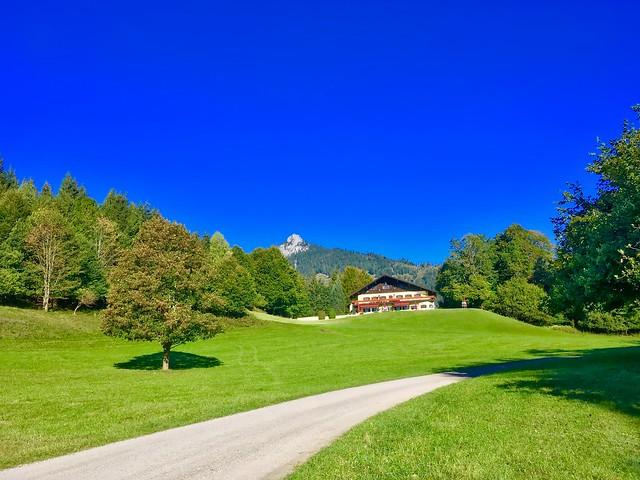 Landscape in the sun near Breitenau near Kiefersfelden, Bavaria, Germany