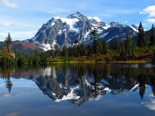 Mt. Shuksan reflected in Picture Lake, Mount Baker-Snoqualmie National Forest, Washington