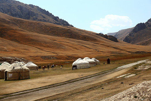 kyrgyzstan tast rabat yurt yurts camp mountains horses landscape scenery view asia central