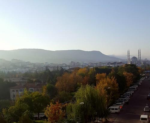 city nevsehir moschee sunrise trees hill