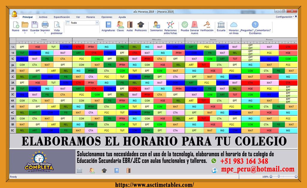 Horario Escolar aSc Horarios / School Schedule aSc Timetab