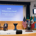 Thu, 09/20/2018 - 14:28 - On Thursday, September 20, 2018, the William J. Perry Center for Hemispheric Defense Studies honored General Salvador Cienfuegos Zepeda, Secretary of National Defense of Mexico, and Escola Superior de Guerra (ESG), National War College of Brazil, with the 2018 William J. Perry Award for Excellence in Security and Defense Education. Named after the Center's founder, former U.S. Secretary of Defense Dr. William J. Perry, the Perry Award is presented annually to individuals who and institutions that have made significant contributions in the fields of security and defense education. From the many nominations received, awardees are selected for achievements in promoting education, research, and knowledge-sharing in defense and security issues in the Western Hemisphere. Awardees' contributions to their respective fields further democratic security and defense in the Americas and, in so doing, embody the highest ideals of the Center and the values embodied by the Perry Award.