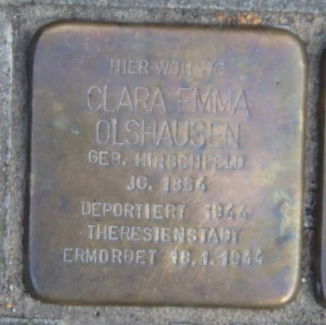 CLARA EMMA OLSHAUSEN (GEBORENE HIRSCHFELD) * 1864 Lattenkampstieg 4 (Hamburg-Nord, Winterhude)