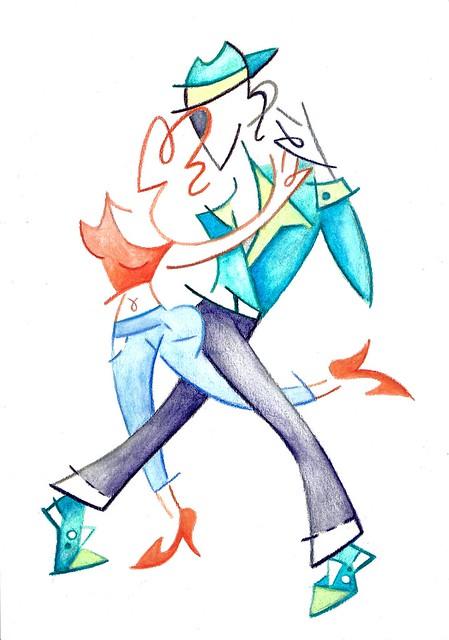 Tango dance watercolor illustration