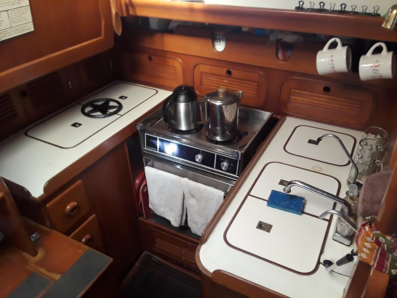 Galley, down forward to port
