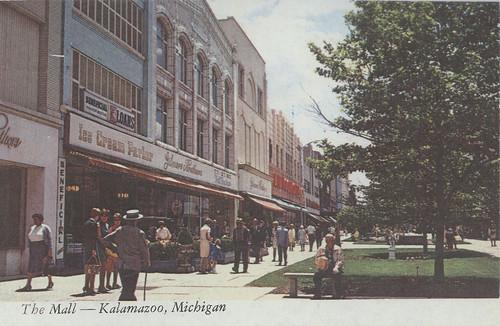 Burdick Street pedestrian mall, Kalamazoo, postcard
