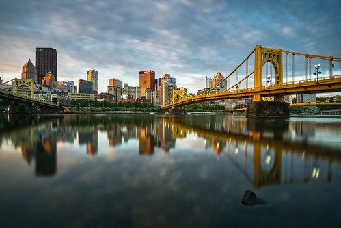 alleghenyriver andywarholbridge hdr nikon nikond5300 outdoor pennsylvania pittsburgh rachaelcarsonbridge robertoclementebridge architecture bridge bridges city clouds downtown geotagged goldenhour longexposure morning reflection reflections river sky skyscraper skyscrapers sunrise urban water unitedstates