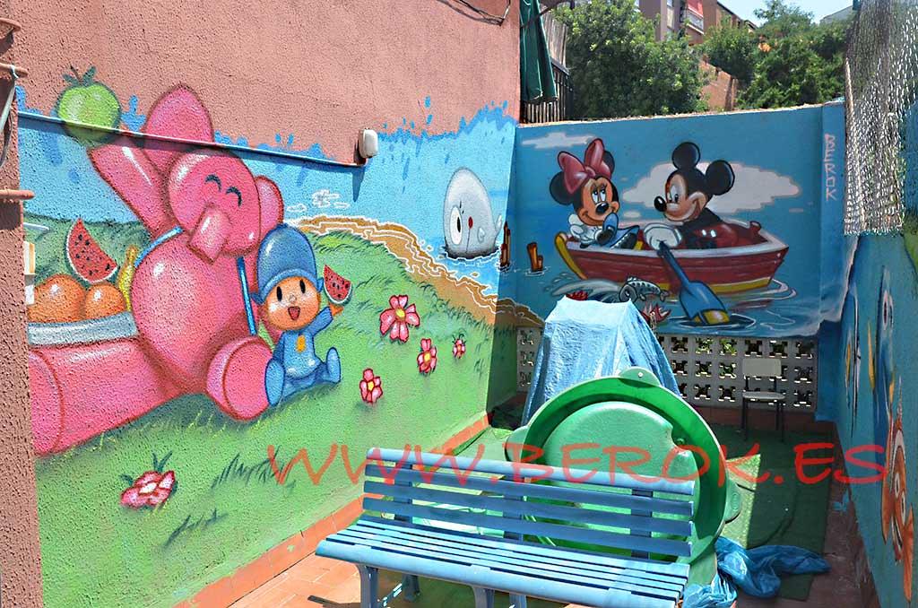 Mural Infantil Guarderia Pocoyo Decoración Pintura Mural P