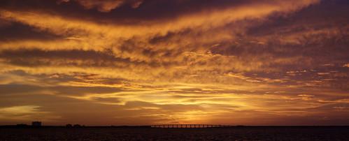 sunrise st pete florida fl golden cloud bridge sun sky sunset dusk evening twilight