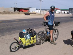 Tim and his BOB trailer heading into Copper Canyon