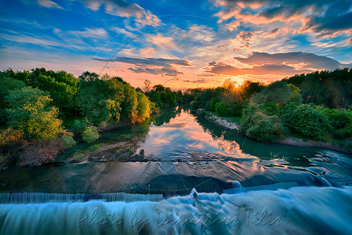 nomi trikala thessaly greece hellas river pinios sunset nature water waterscape flow reflections clouds sky effect trees vegetation