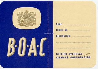 British Overseas Airways Corporation - BOAC luggage and address label, c1960 | by mikeyashworth