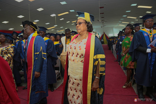 Mrs. Nancy O. C. Thompson, Chairman of University of Cape Coast Governing Council among those being processed to the dais.