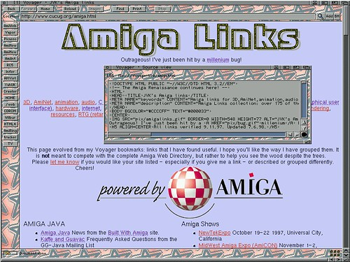 Amiga Screen: Voyager Web Browser | This was a web page I us
