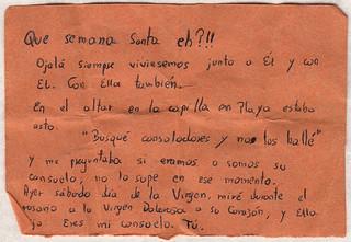 Carta de Catalina a Gema durante la Semana Santa de 2015
