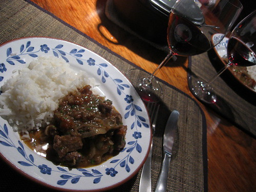 Beef stew with red wine and tomatoes