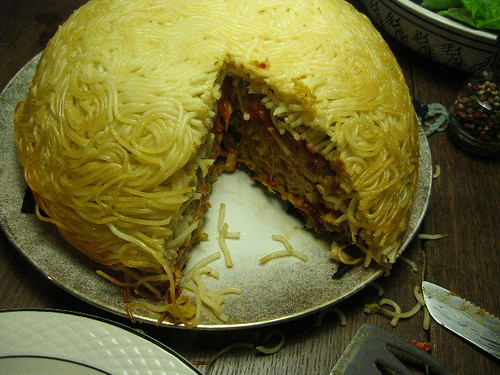 Timpano di spaghetti