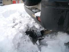 排気口に雪が詰まった