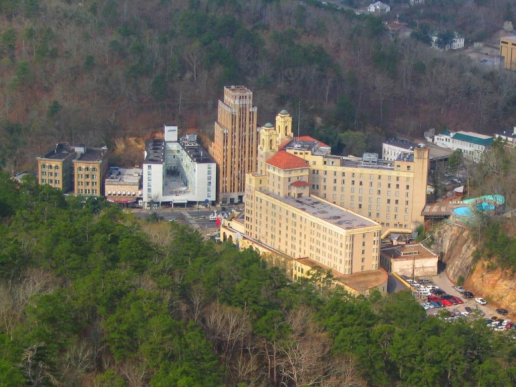 Arlington Resort Hotel & Spa, as Seen from Hot Springs Mountain Tower, Hot Springs National Park, Arkansas.