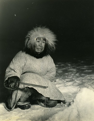 Eskimo Woman Ice Fishing | by born1945