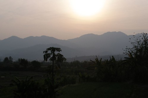 sunset mountains thailand pai