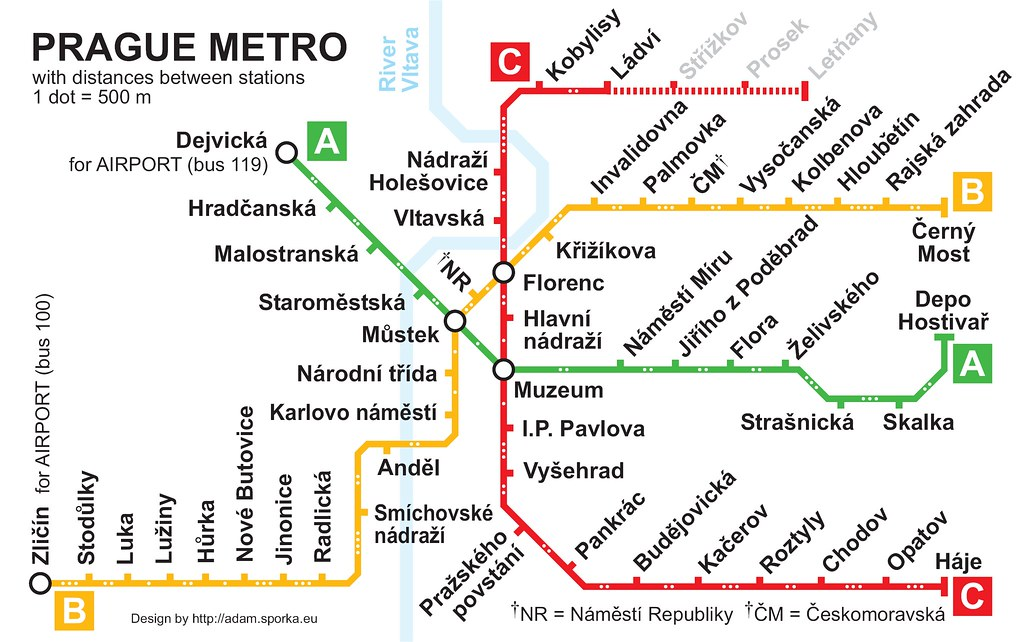 Prague Subway Map.Prague Metro Map With Distances Between Stations Somewhat Flickr