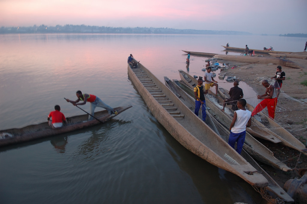 ... Pirogues on the Congo - by Julien Harneis