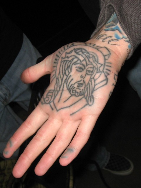 Hand (Palm) Tattoo of Jesus, on Jesus