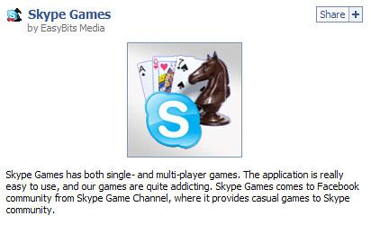 Skype Games facebook app by EasyBits