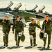 "From right, The last active-duty Air Force pilot to fly the McDonnell Douglas F-4 Phantom II, Lt. Col. Ron ""Elvis"" King of the 82nd Aerial Target Squadron Detachment 1, Lt. Col. (Ret) Jim ""WAM"" Harkins, Lt. Col. Mike ""Dirty"" Driscoll and Col. Ryan ""Shooter"" Craycraft return to the flightline at Holloman AFB, N.M., Dec. 16, 2016. The F-4 Phantom II entered the U.S. Air Force inventory in 1963 and was the primary multi-role aircraft in the USAF throughout the 1960s and 1970s. The F-4 flew bombing, combat air patrol, fighter escort, reconnaissance and the famous Wild Weasel anti-aircraft missile suppression missions. The final variant of the Phantom II was the QF-4 unmanned aerial targets flown by the 82nd at Holloman AFB. (U.S. Air Force photo by J.M. Eddins Jr.)"