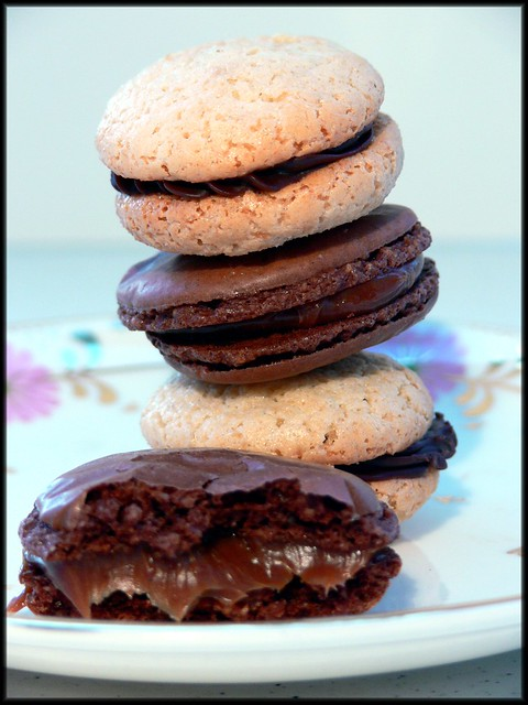 macarons stacked and split