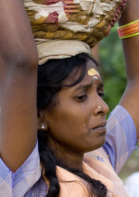 Woman Crying A Tear During The Firewwalking Ceremony - Ind -7252